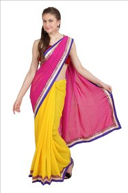 Parchayee Pink Chiffon Printed Saree With Blouse