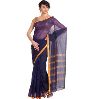 SATRANG Purple Net solid Saree