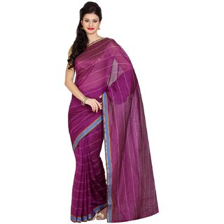 Parchayee Purple Art Silk Striped Saree With Blouse