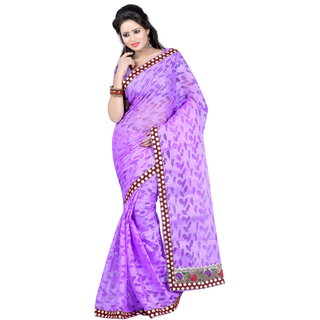 SATRANG Purple Net Brasso Floral Saree