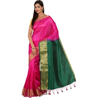 Parchayee Pink Silk Plain Saree With Blouse