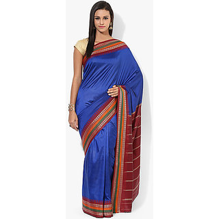 Parchayee Blue Crepe, Jacquard Plain Saree With Blouse