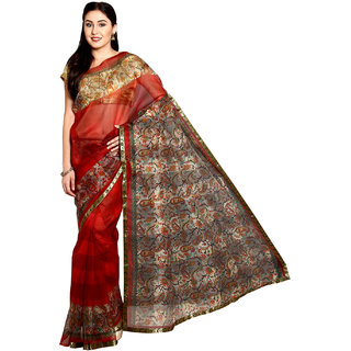 Parchayee Red Net Printed Saree With Blouse