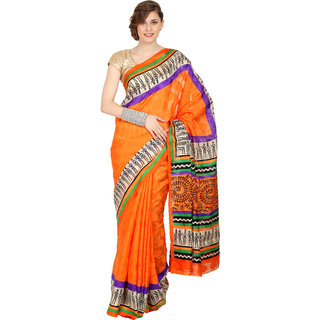 SATRANG Orange Synthetic Printed Saree