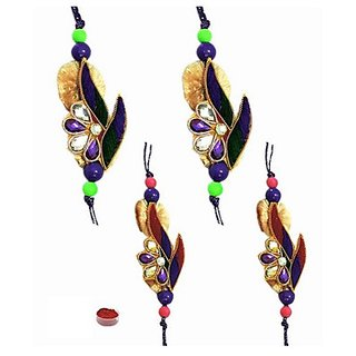 Delightful Zardosi Rakhi Set of 4