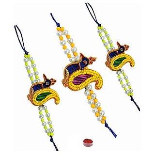Traditional Peacock Design Beads Rakhi Set of Three