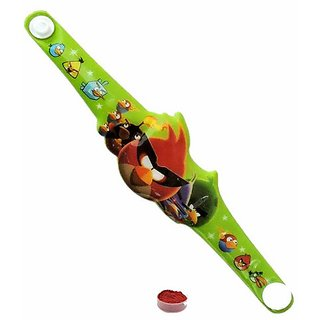 Green Colored Angry Bird Rakhi with Tiptop Button