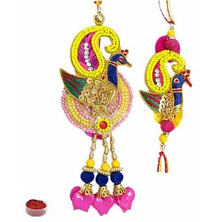 Yellow  Pink Colored Exceptional Mayur Lumba N Rakhi Set