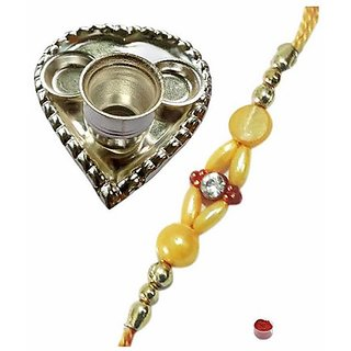 Paan Shaped Silver Plated Puja Thali with Beads Rakhi