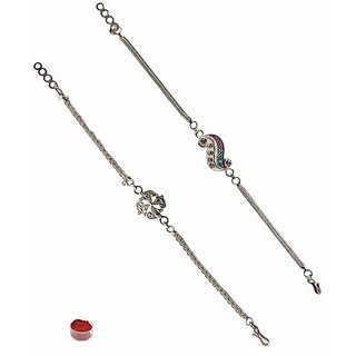 Charming Silver Plated Rakhi Set of Two
