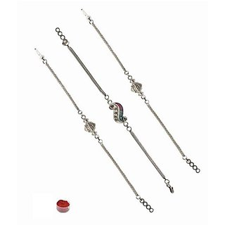 Eye-Catching 3pcs Silver Plated Rakhi
