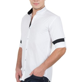 RAVIS 100 Cotton Stand Collar Casual Shirt