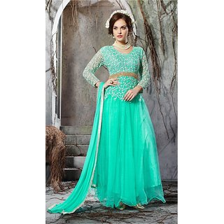 Thankar Aqua Embroidery Net Anarkali Suit