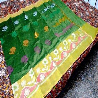 Bijou Banarasi Cotton Silk Saree with Blouse - Green