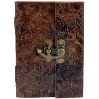 Craft Play Leather With Flower Emboss Regular Diary Hard Bound (Brown)