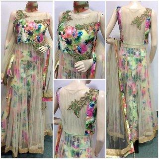Fashion Heavy Designer Lolly Pop Cream Color Designer Grown Dress