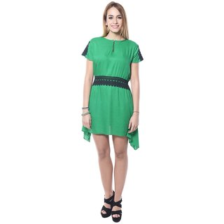 Klick2Style Classy Solid Georgette Tunic Green TUC4003-Grn