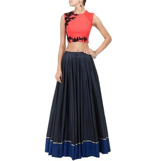 Aagaman FashionFine-looking Black Colored Embroidered Lehenga Choli