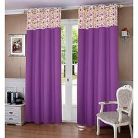 Lushomes Purple Rain Printed Bloomberry Cotton Curtains with 8 Eyelets  Printed Tiebacks for Door (Single Pc)