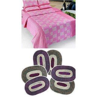 k decor combo of 1 cotton bedsheet and 3 door mats(CBM-001)
