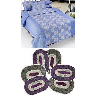 k decor combo of 1 cotton bedsheet 6 door mats(CBM-002)