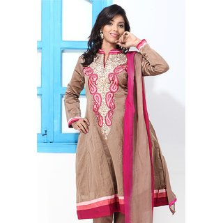 Farrow Brown Cotton Silk Embroidery suit