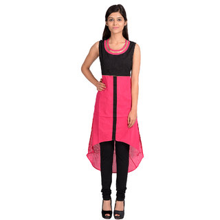 Sale Mantra Black,Pink Cotton Solid/Plain Casual Kurti