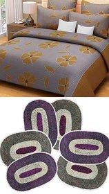 k decor combo of 1 cotton bedsheet  6 door mats(CBM-012)
