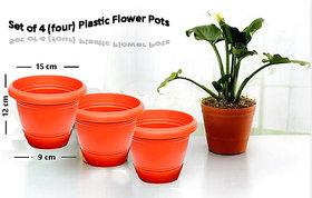 Plastic Flower Pots - Set of 4