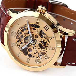 Ewaycoms Round Dial Gold Metal Strap Men Quartz Watch for Men