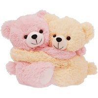 Tabby Toys Beige And Pink Cute Furry Couple Teddy Bear Soft Toys