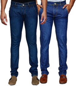 Ansh Fashion Wear Mens Streachable Regular Fit Jeans ( Pack of Two )