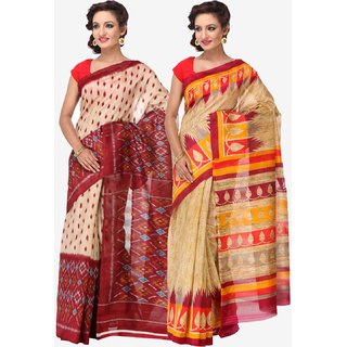 Varanga Combo of 2 Multicolor Bhagalpuri Silk Saree with Unstitched Blouse KF-SS16SRE051-052