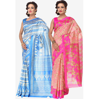 Varanga Combo of 2 Multicolor Bhagalpuri Silk Saree with Unstitched Blouse KF-SS16SRE053-059