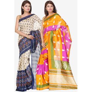 Varanga Combo of 2 Multicolor Bhagalpuri Silk Saree with Unstitched Blouse KF-SS16SRE075-077
