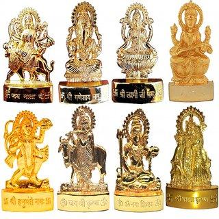 Gold Plated Ganesh Laxmi Durga Saraswati Hanuman Shiv Radha Krishna Gai Krishna