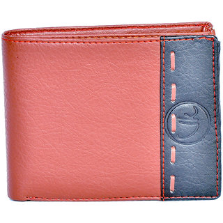 Vagan-Kate stripped brown leather wallet for men