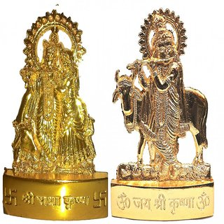 Gold Plated Radha Krishna with Cow Krishna Idols - 2.9 Inches