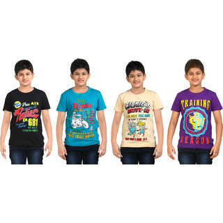 low priced 352ce b4c2a DONGLI BOYS PRINTED ROUND NECK TSHIRT (PACK OF 4)