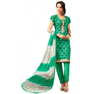 Chigy Whigy Green Color Chanderi Cotton Suit