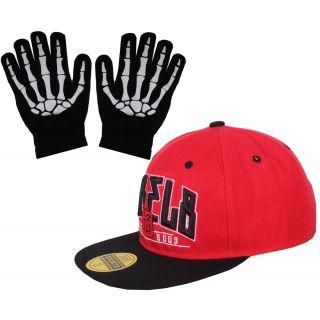 sushito Fresh Red Black Hip Hop Cap With Hand Gloves JSMFHCP1207-JSMFHHG0037