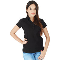 Integriti Black Cotton Casual T-Shirt For Women