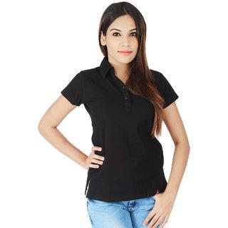 Integriti Black Cotton Casual T-Shirt For Women