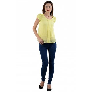Klick2Style Box Pleated Top Yellow TOP2031-Ylw