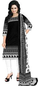 Drapes Black Cotton Block Print Salwar Suit Dress Material (Unstitched)