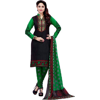 Drapes Black Cotton Block Print Salwar Suit Dress Material (Unstitched)