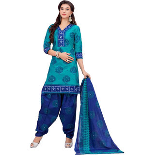 Drapes Blue Cotton Block Print Salwar Suit Dress Material (Unstitched)