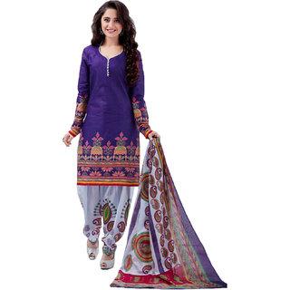 Drapes Blue Cotton Block Print Salwar Suit Dress Material (Unstitched)