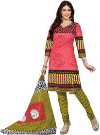 Drapes Pink Cotton Block Print Salwar Suit Dress Material (Unstitched)