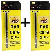 EVUAR KAJAL Pack of 2 12hr Eye Care Long Lasting  Extra Black Waterproof Free Liner  Rubber Band